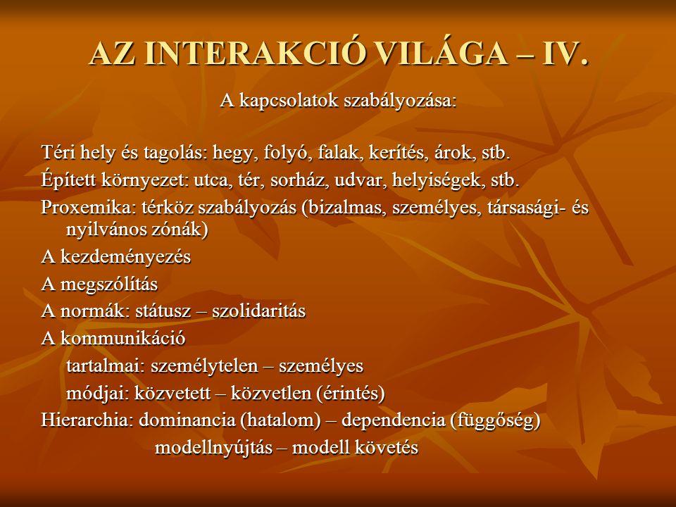 AZ INTERAKCIÓ VILÁGA – IV.