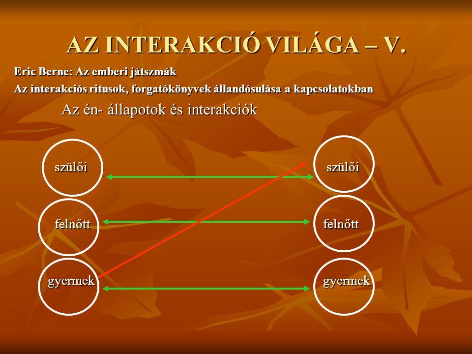 AZ INTERAKCIÓ VILÁGA – V.