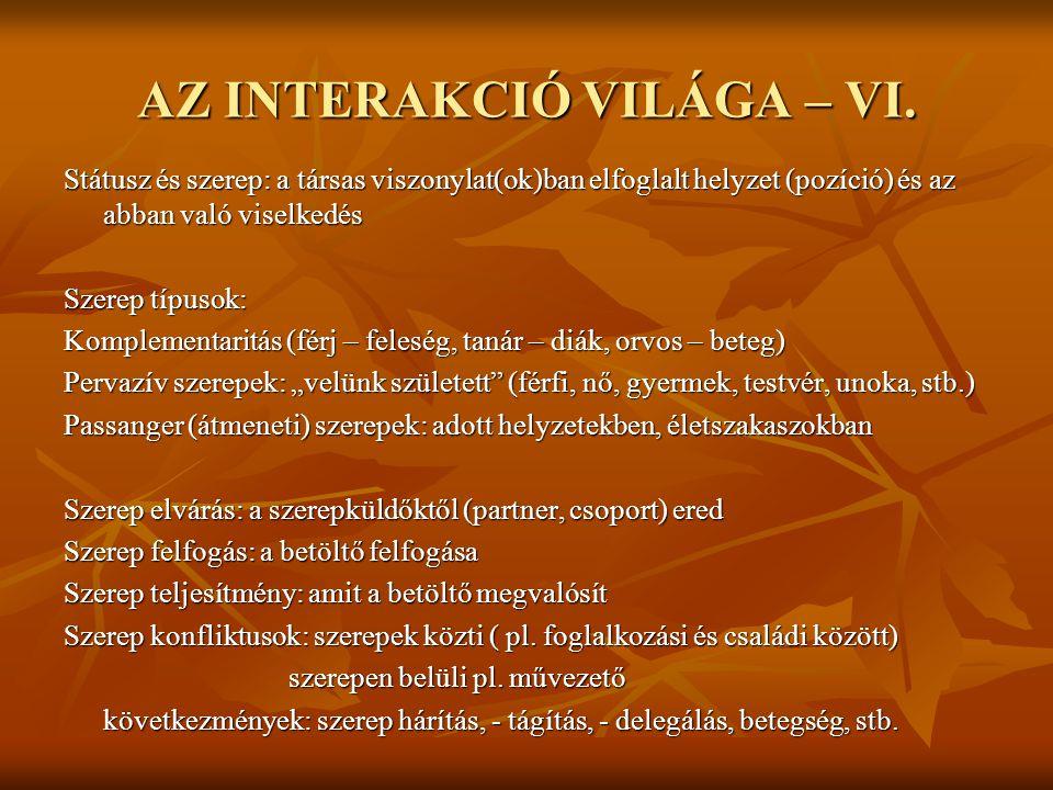 AZ INTERAKCIÓ VILÁGA – VI.