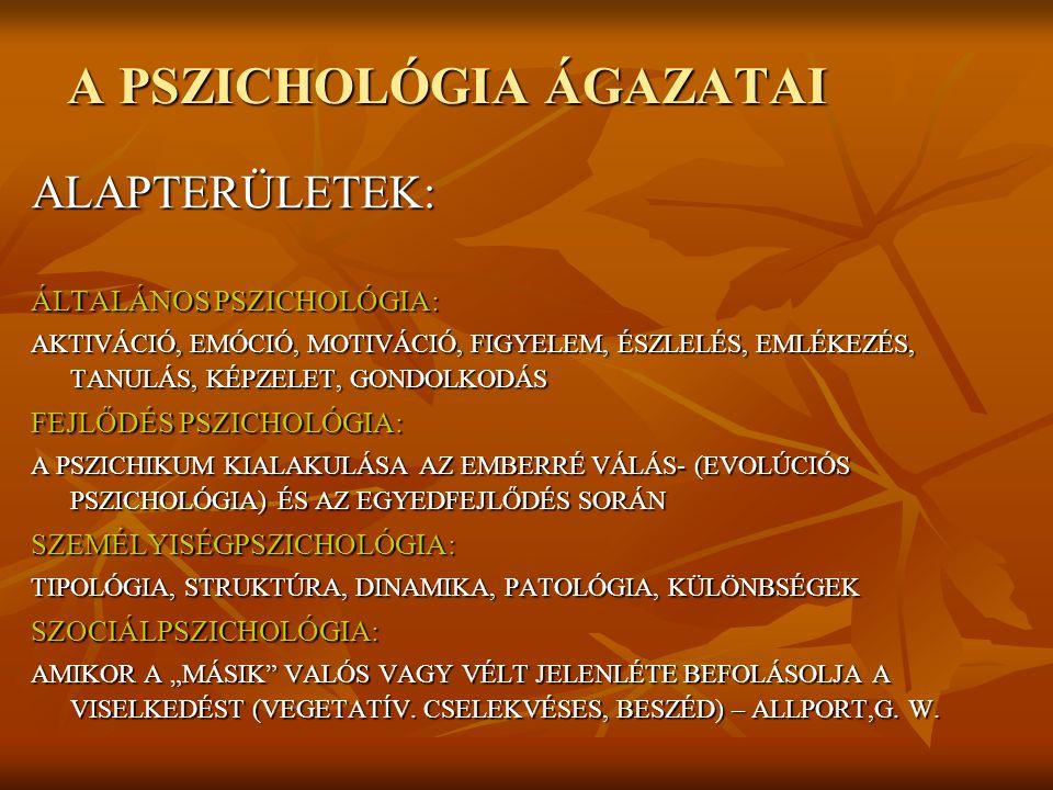 A PSZICHOLÓGIA ÁGAZATAI