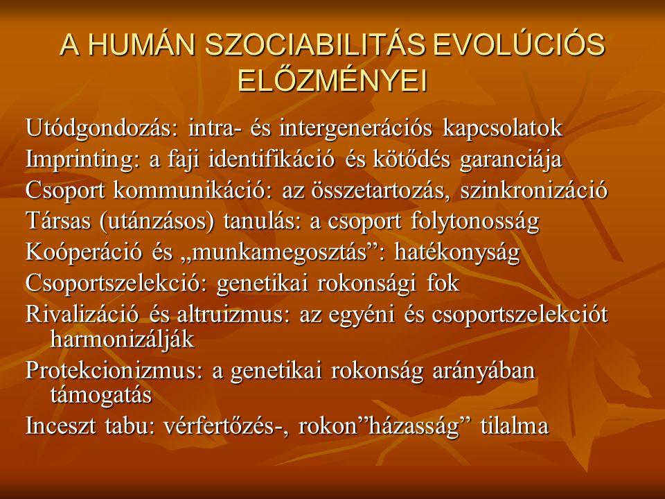 A HUMÁN SZOCIABILITÁS EVOLÚCIÓS ELŐZMÉNYEI