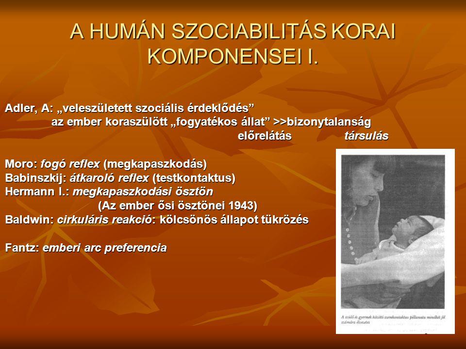 A HUMÁN SZOCIABILITÁS KORAI KOMPONENSEI I.