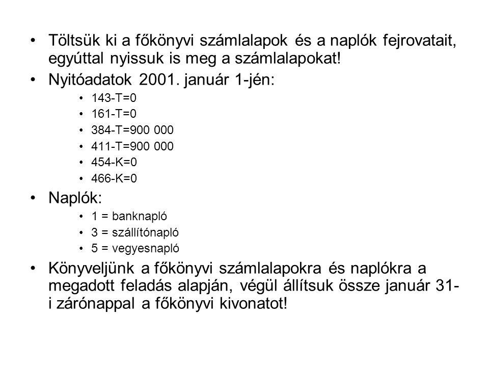 Nyitóadatok 2001. január 1-jén: