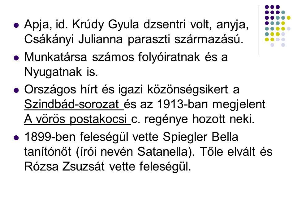 Apja, id. Krúdy Gyula dzsentri volt, anyja, Csákányi Julianna paraszti származású.