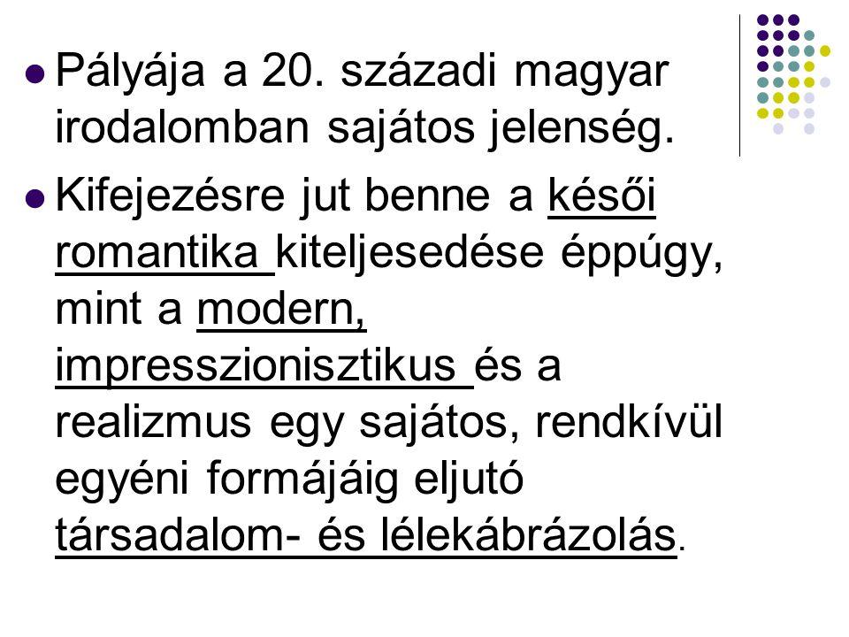 Pályája a 20. századi magyar irodalomban sajátos jelenség.