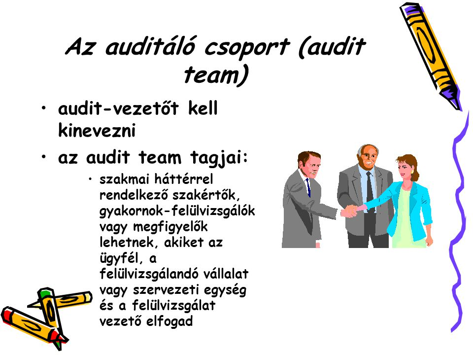 Az auditáló csoport (audit team)