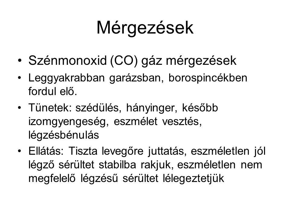 Mérgezések Szénmonoxid (CO) gáz mérgezések