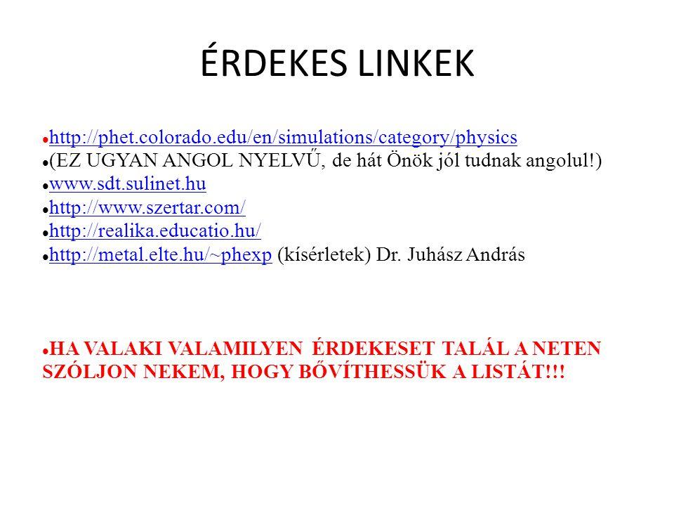 ÉRDEKES LINKEK http://phet.colorado.edu/en/simulations/category/physics. (EZ UGYAN ANGOL NYELVŰ, de hát Önök jól tudnak angolul!)