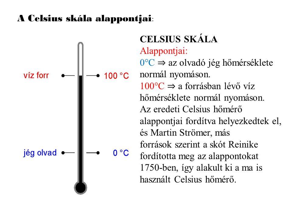 A Celsius skála alappontjai: