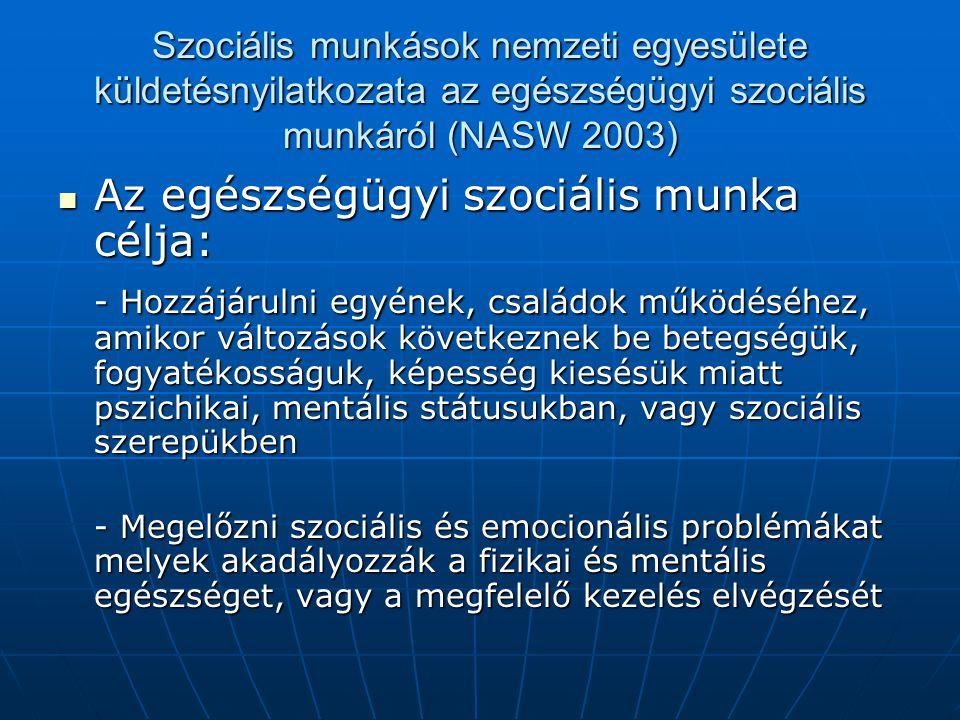 Az egészségügyi szociális munka célja: