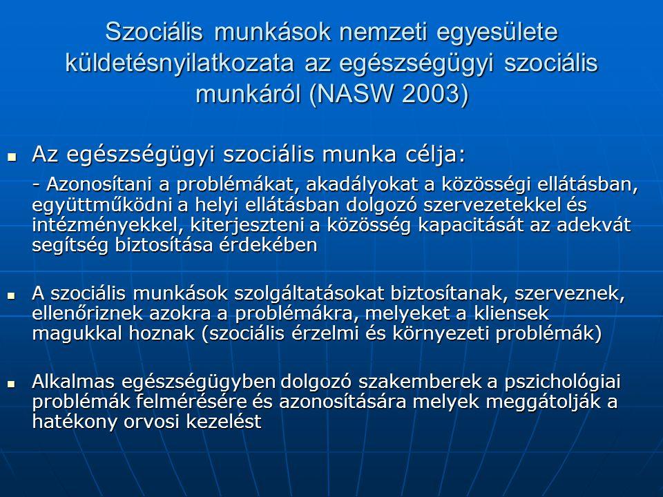 Szociális munkások nemzeti egyesülete küldetésnyilatkozata az egészségügyi szociális munkáról (NASW 2003)