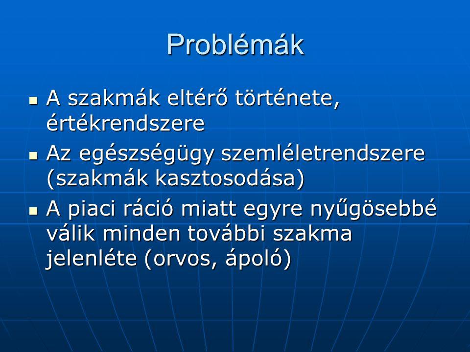 Problémák A szakmák eltérő története, értékrendszere