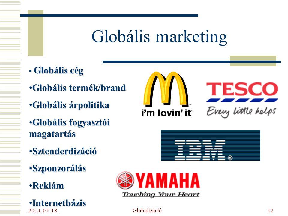 Globális marketing Globális termék/brand Globális árpolitika