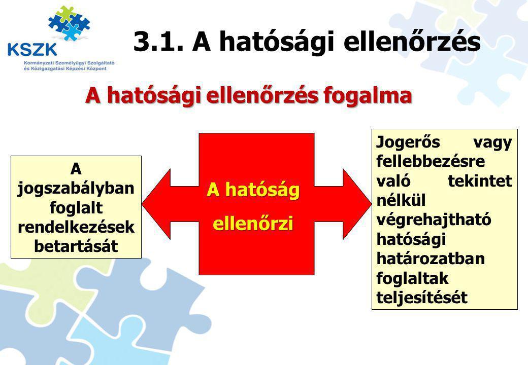 3.1. A hatósági ellenőrzés A hatósági ellenőrzés fogalma A hatóság