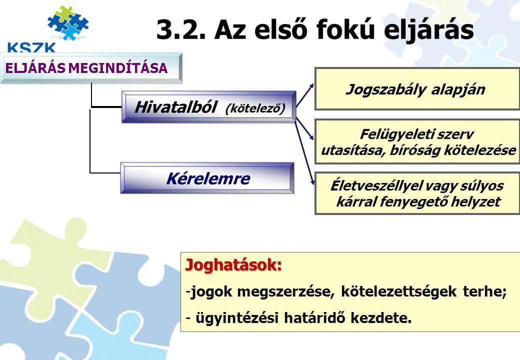 3.2. Az első fokú eljárás Joghatások: Jogszabály alapján