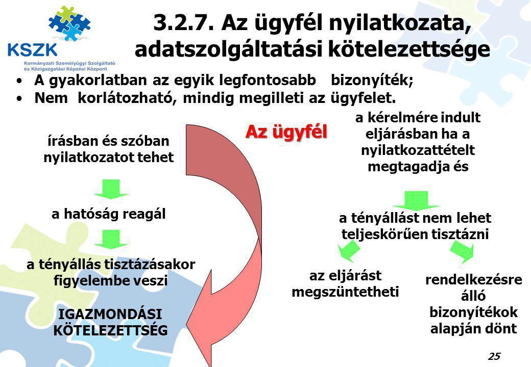 3.2.7. Az ügyfél nyilatkozata, adatszolgáltatási kötelezettsége