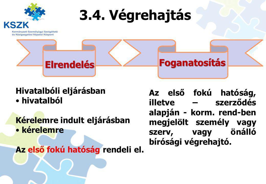 3.4. Végrehajtás Foganatosítás Elrendelés Hivatalbóli eljárásban