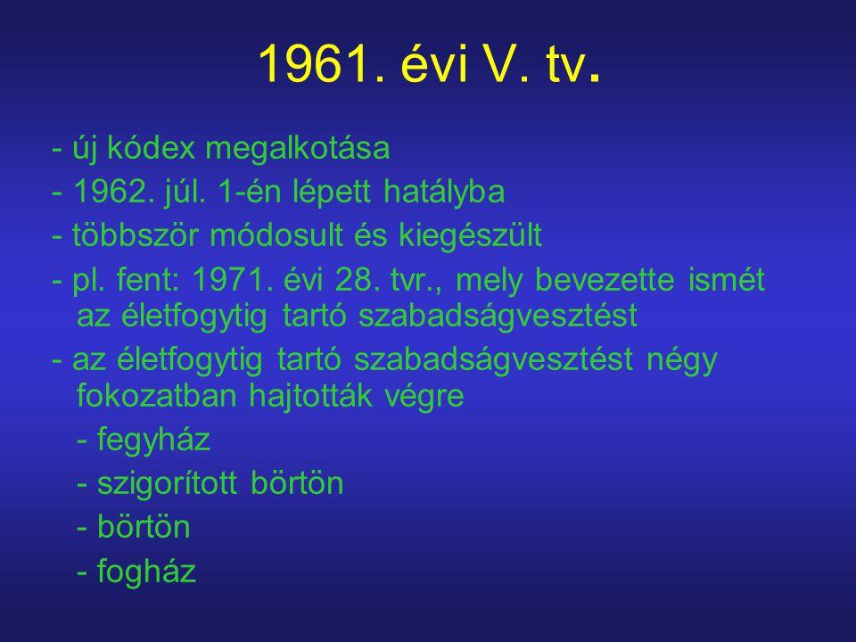 1961. évi V. tv. - új kódex megalkotása