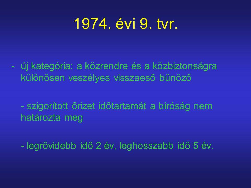 1974. évi 9. tvr. új kategória: a közrendre és a közbiztonságra különösen veszélyes visszaeső bűnöző.