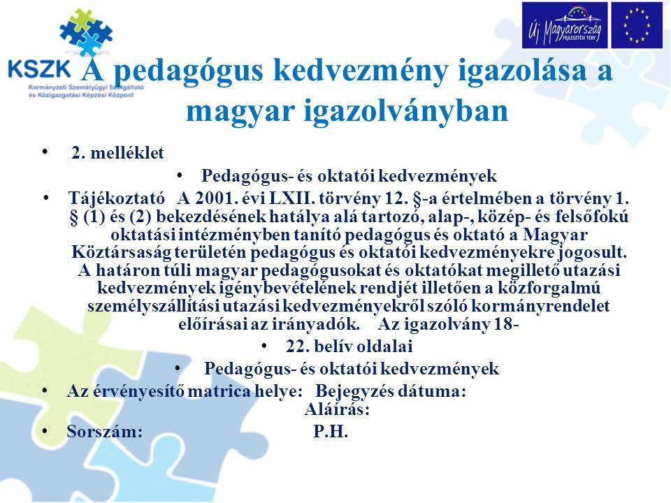 A pedagógus kedvezmény igazolása a magyar igazolványban