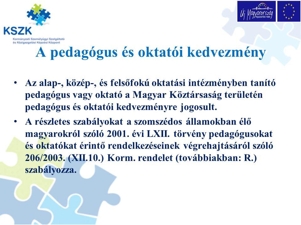 A pedagógus és oktatói kedvezmény
