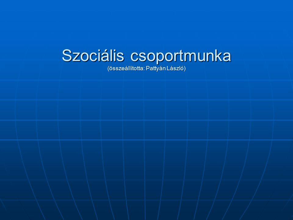 Szociális csoportmunka (összeállította: Pattyán László)
