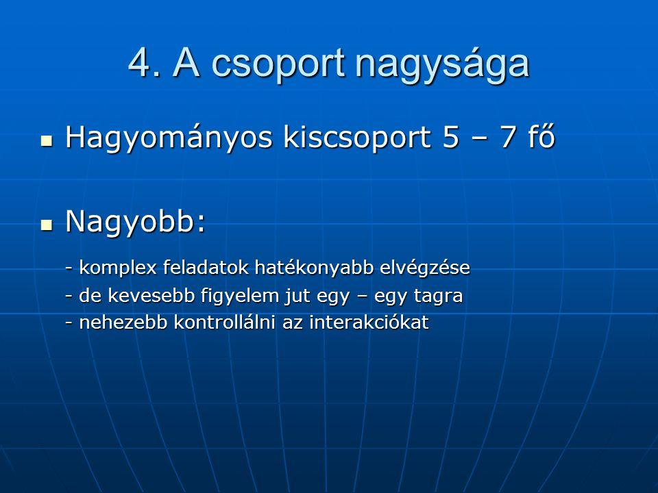 4. A csoport nagysága Hagyományos kiscsoport 5 – 7 fő Nagyobb: