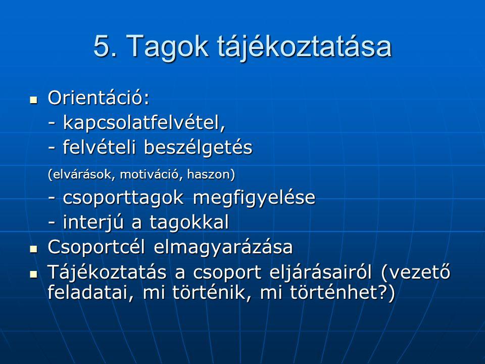5. Tagok tájékoztatása Orientáció: - kapcsolatfelvétel,
