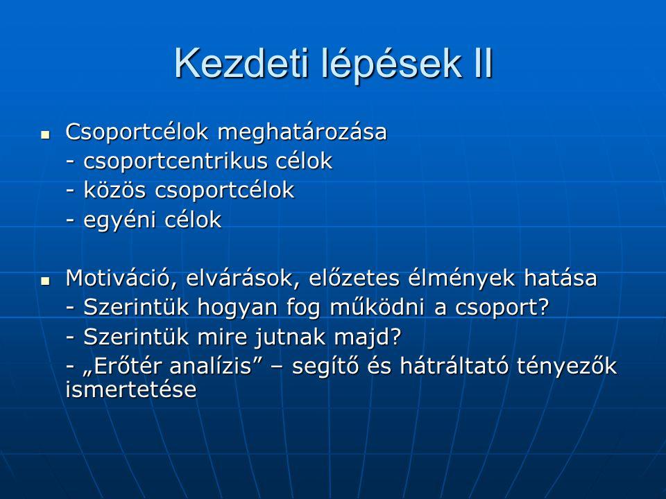 Kezdeti lépések II Csoportcélok meghatározása - csoportcentrikus célok