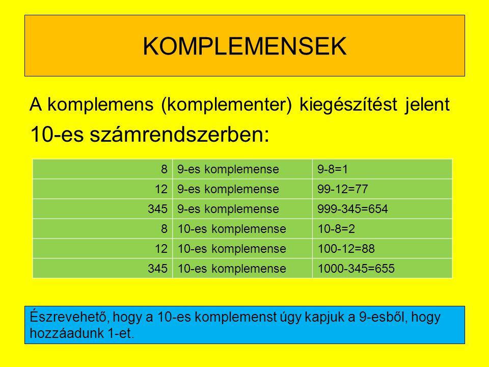 KOMPLEMENSEK 10-es számrendszerben: