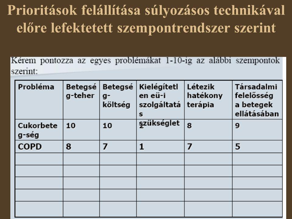 Prioritások felállítása súlyozásos technikával előre lefektetett szempontrendszer szerint