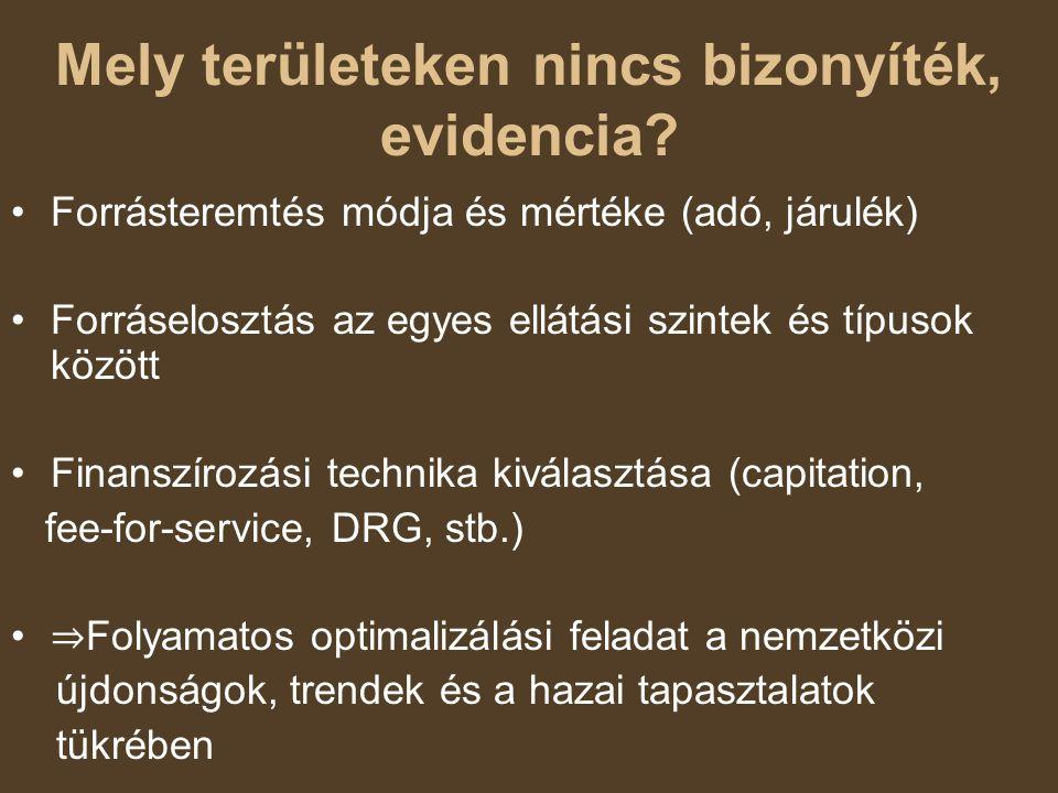 Mely területeken nincs bizonyíték, evidencia