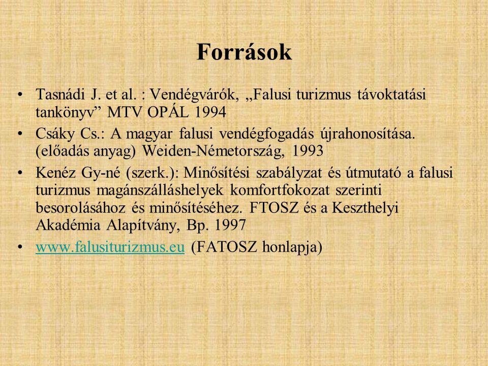 """Források Tasnádi J. et al. : Vendégvárók, """"Falusi turizmus távoktatási tankönyv MTV OPÁL 1994."""