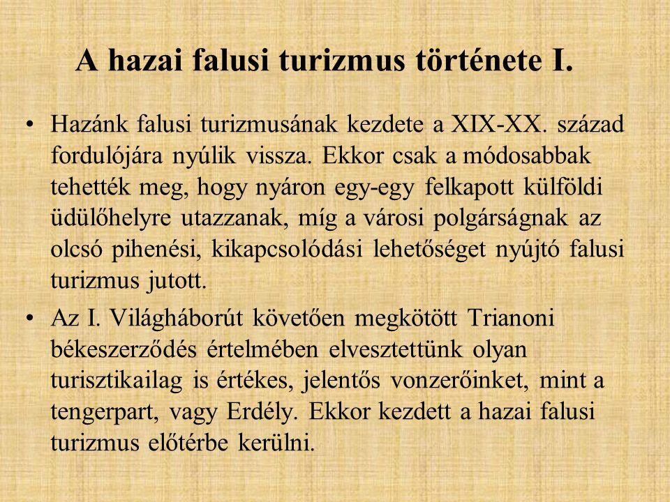 A hazai falusi turizmus története I.