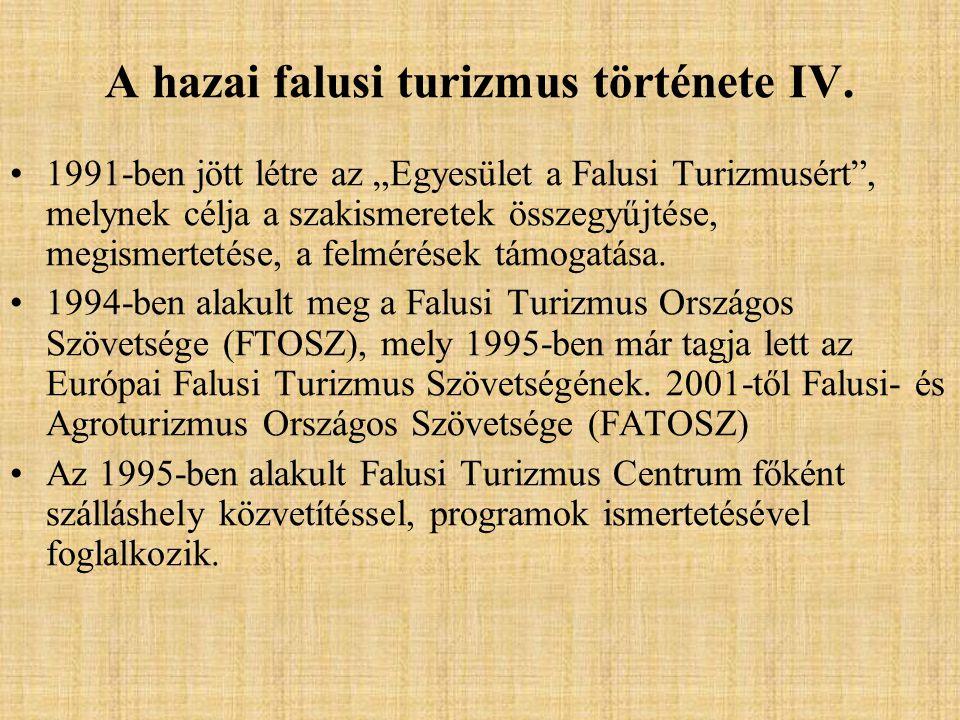 A hazai falusi turizmus története IV.