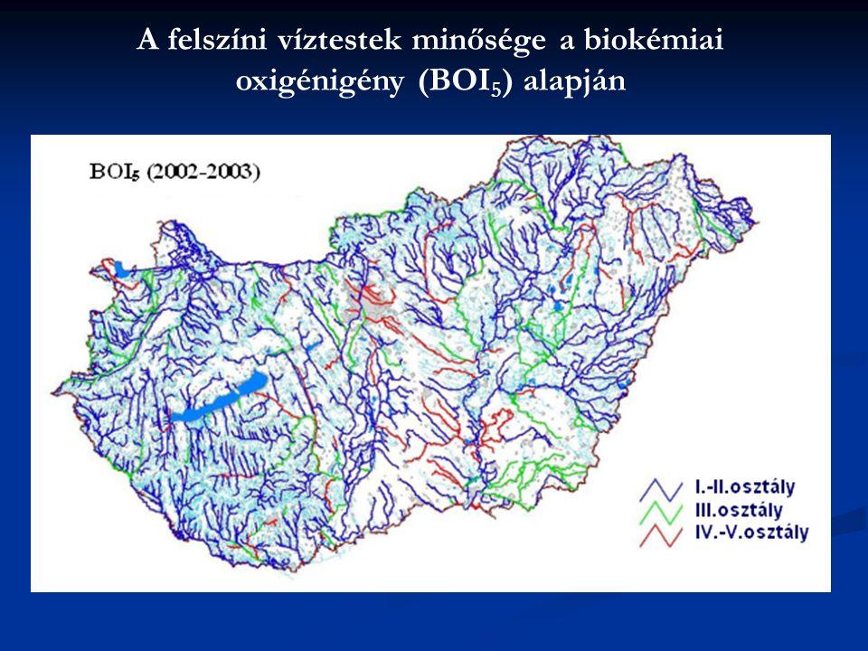 A felszíni víztestek minősége a biokémiai oxigénigény (BOI5) alapján
