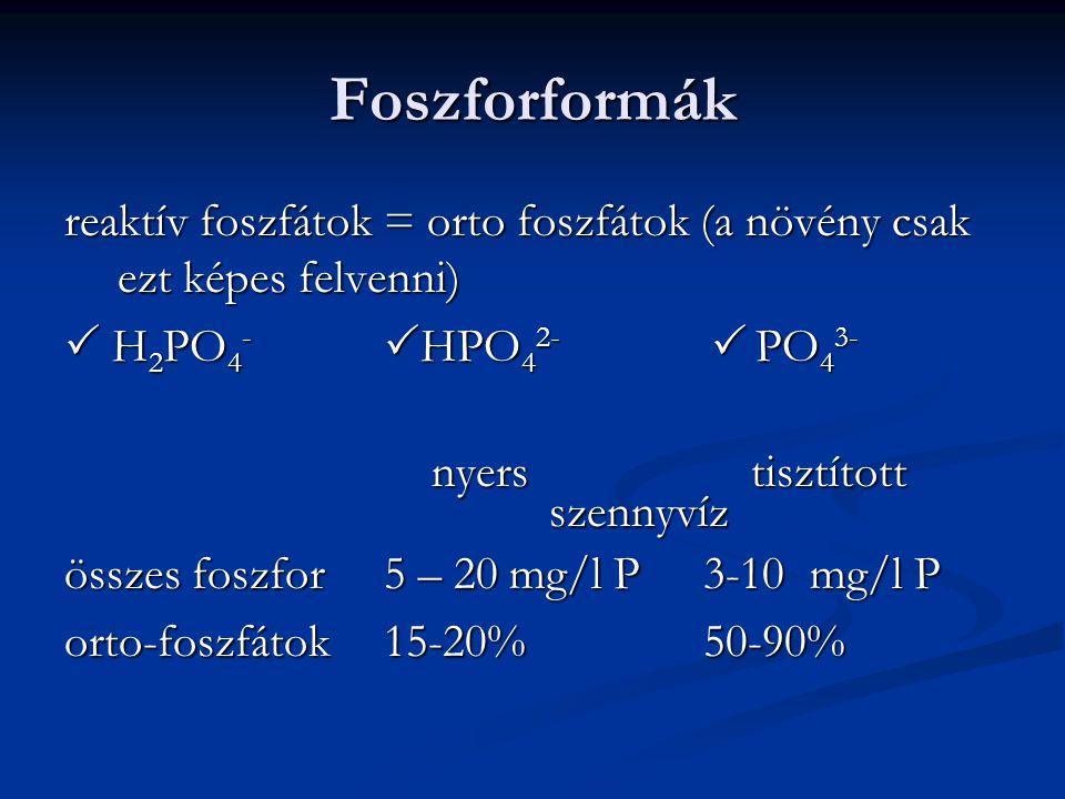 Foszforformák reaktív foszfátok = orto foszfátok (a növény csak ezt képes felvenni)  H2PO4- HPO42-  PO43-