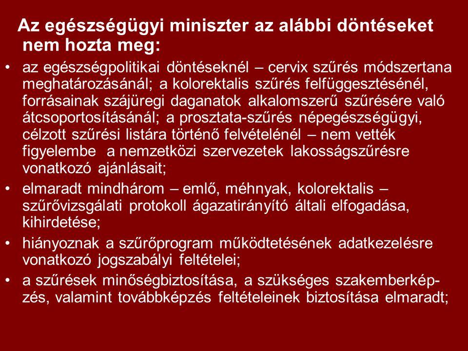 Az egészségügyi miniszter az alábbi döntéseket nem hozta meg: