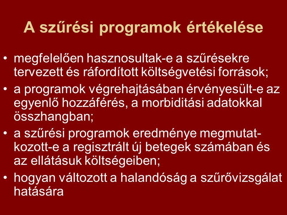 A szűrési programok értékelése