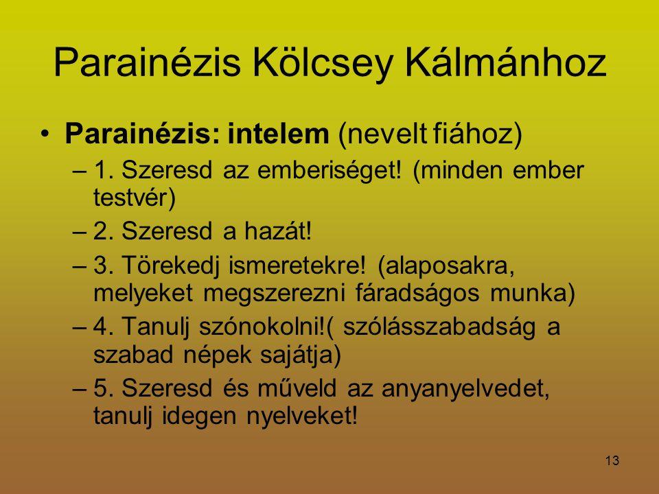 Parainézis Kölcsey Kálmánhoz