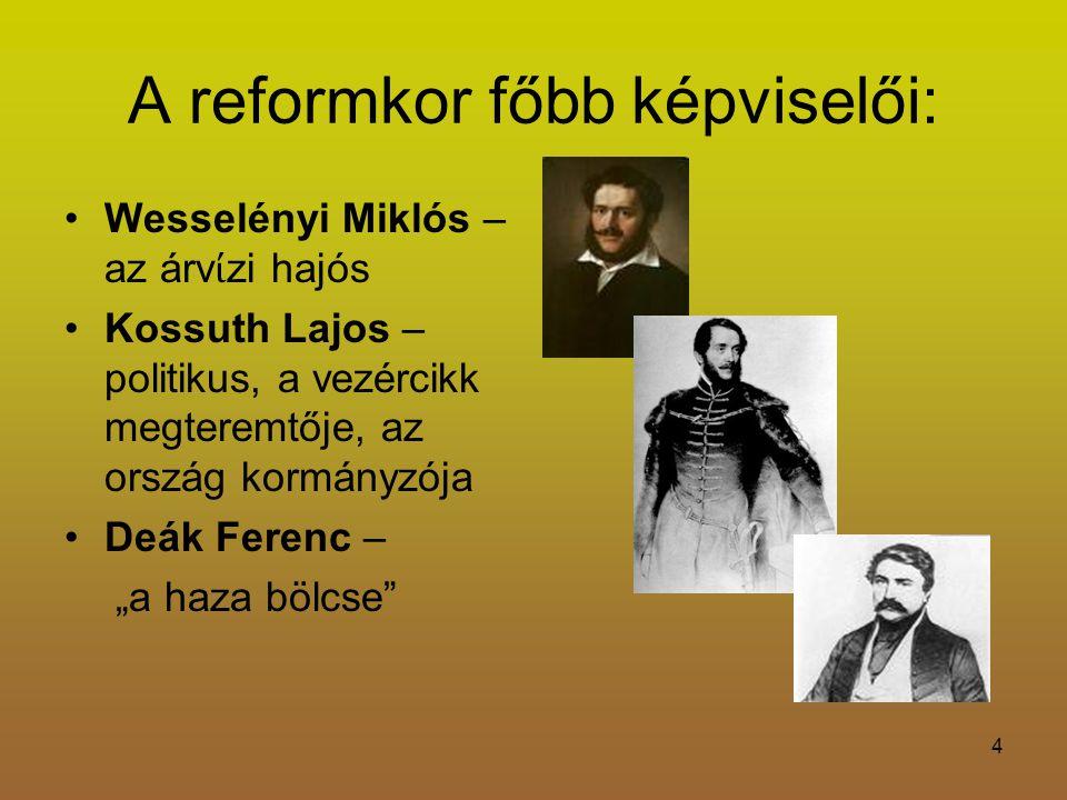 A reformkor főbb képviselői: