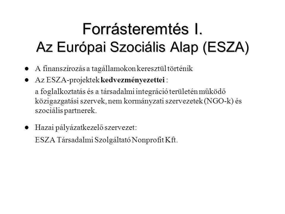 Forrásteremtés I. Az Európai Szociális Alap (ESZA)