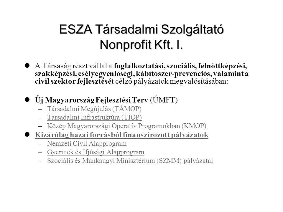 ESZA Társadalmi Szolgáltató Nonprofit Kft. I.