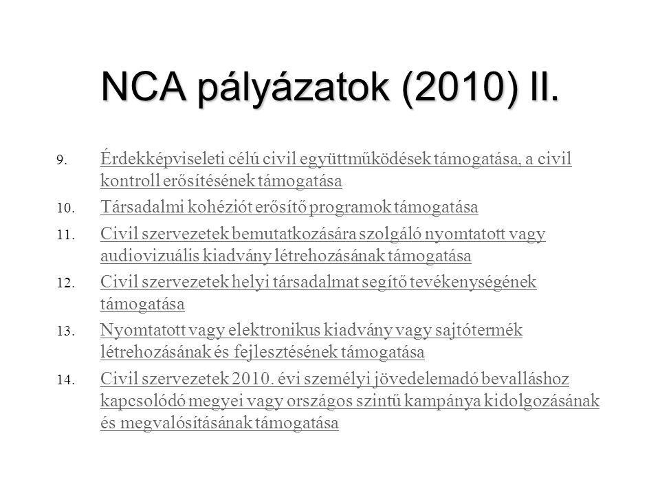 NCA pályázatok (2010) II. Érdekképviseleti célú civil együttműködések támogatása, a civil kontroll erősítésének támogatása.