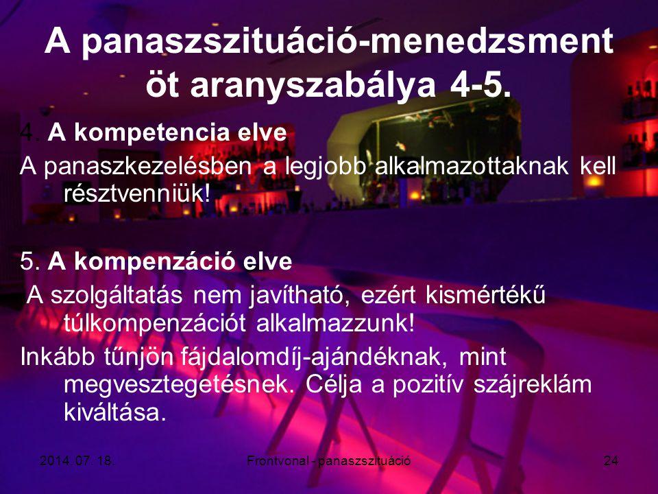 A panaszszituáció-menedzsment öt aranyszabálya 4-5.