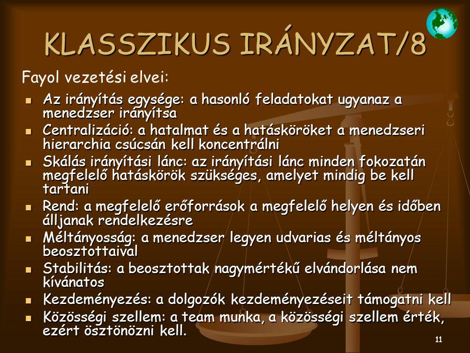 KLASSZIKUS IRÁNYZAT/8 Fayol vezetési elvei: