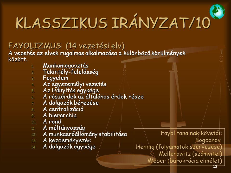 KLASSZIKUS IRÁNYZAT/10 FAYOLIZMUS (14 vezetési elv)