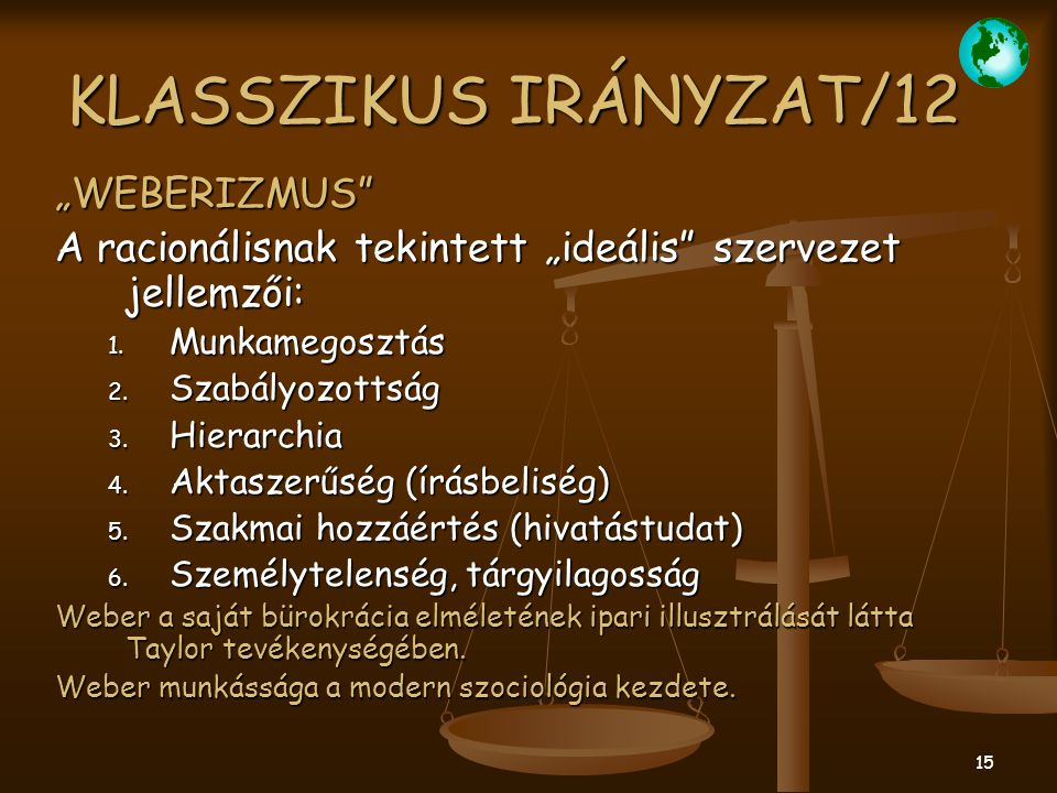 "KLASSZIKUS IRÁNYZAT/12 ""WEBERIZMUS"