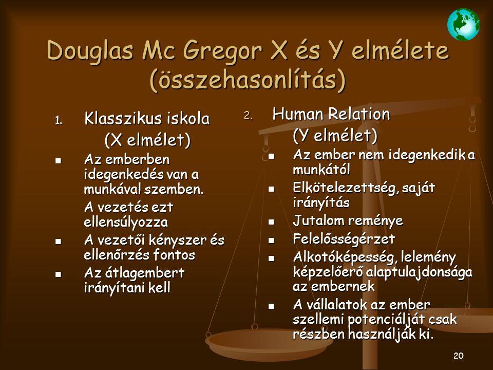 Douglas Mc Gregor X és Y elmélete (összehasonlítás)