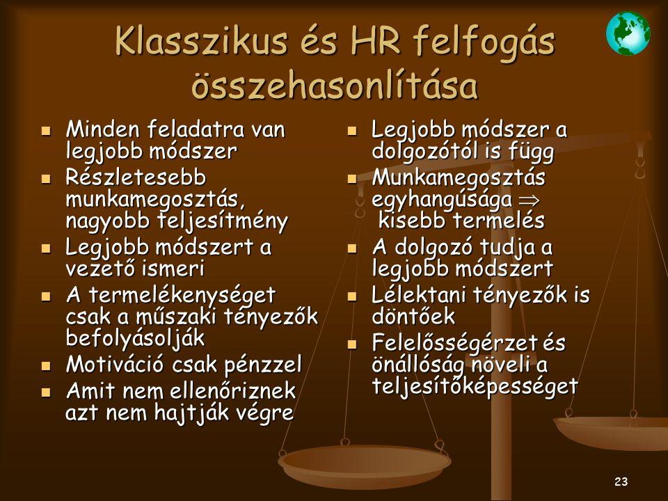 Klasszikus és HR felfogás összehasonlítása